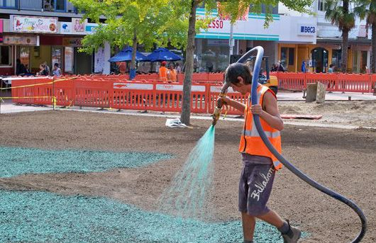 Hydroseeding at Garden Place